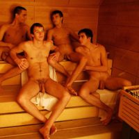 lads semi erect in sauna