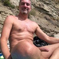 mature daddy big beach hardon