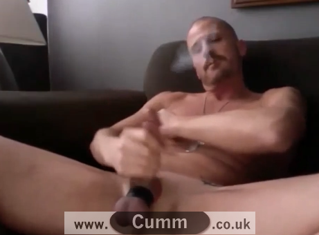 Young Army Man Smoking and Stroking