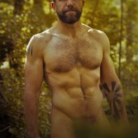 bear nude in park wanking